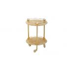Migliore Cristalia ML.CRS-60.249.DO Столик на колёсиках H57xD40 см, стекло/SWAROVSKI, золото