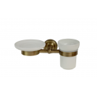 Migliore Mirella ML.MRL-M066.BR Мыльница и стакан настенные, керамика, бронза