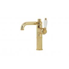Migliore Ermitage ML.ERM-7017.BI.DO Смеситель для раковины, ручка сбоку белая, золото