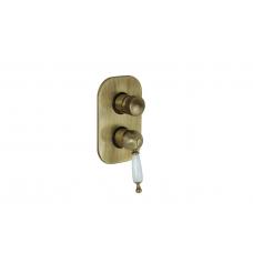 Migliore Oxford ML.OXF-6332.BI.BR Смеситель скрытого монтажа, 4-х позиционный с девиатором, ручка белая, бронза
