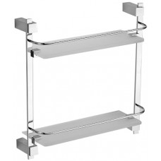 SCHEIN Durer 2612B Полка двойная угловая с ограничителем, стекло/хром