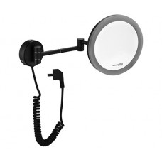 WasserKraft K-1004BLACK Зеркало с LED-подсветкой, 3-х кратным увеличением и настенным креплением, черный