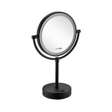 WasserKraft K-1005BLACK Зеркало с LED-подсветкой двухстороннее, стандартное и с 3-х кратным увеличением, черный