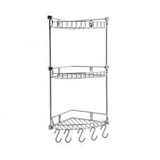 WasserKraft K-1233 Полка металлическая трехуровневая с крючками и настенным креплением, хром