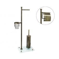 WasserKraft Exter K-1234 Стойка комбинированная напольная (бумагодержатель с крышкойи без+держатель освежителя воздуха+ершик), светлая бронза