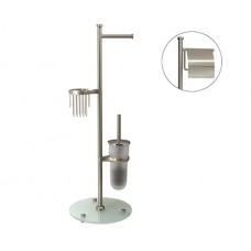 WasserKraft Ammer K-1236 Стойка комбинированная напольная (бумагодержатель с крышкой и без+держатель освежителя воздуха+ершик), матовый хром