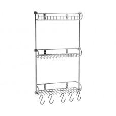 WasserKraft K-1433 Полка металлическая трехуровневая с крючками и настенным креплением, хром