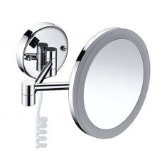 WasserKraft K-1004 Зеркало с LED-подсветкой, 3-х кратным увеличением и настенным креплением, хром