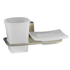 WasserKraft Exter K-5226 Стакан и мыльница с настенным креплением, светлая бронза/матовое стекло