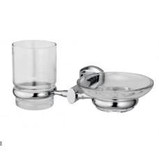 WasserKraft Oder K-3026 Стакан и мыльница с настенным креплением, хром/стекло