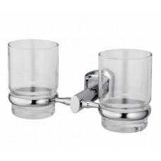 WasserKraft Oder K-3028D Стакан двойной с настенным креплением, хром/стекло